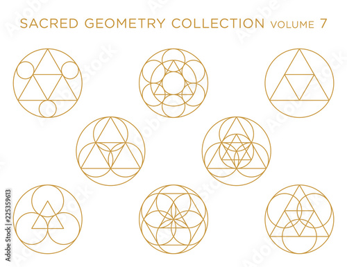 Photo  Sacred Geometry Vector Collection - Golden isolated on white