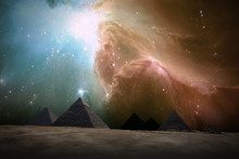 Ancient Places Backgrounds - Pyramids Under Night Sky