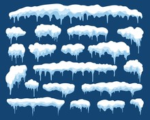 Icicles. Winter Snowy Icicle Set Isolated On Blue, Cartoon Ice Snowcap Or Snowed Cap For Xmas Decor Vector Illustration