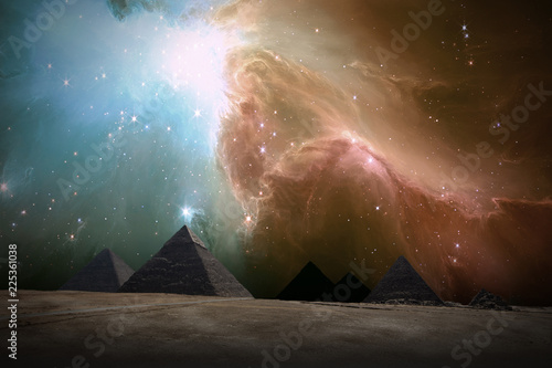 Canvas Print Ancient Places Backgrounds - Pyramids under Night Sky