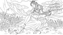 Beautiful Girl By The Lake