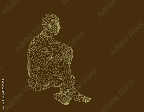 Man sitting on the ground. Wireframe human body. Vector illustration.