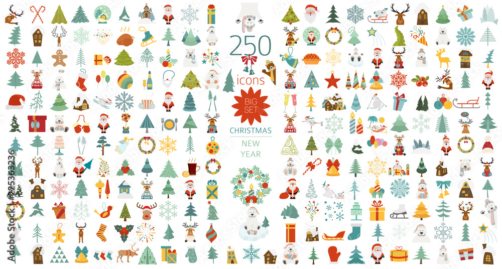 Fototapety, obrazy: Christmas, New Year holidays icon big set. Flat style collection. Vector illustration
