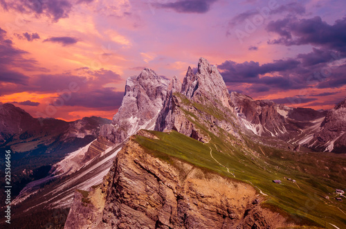 Gruppo delle Odle at sunset, view from Seceda Wallpaper Mural