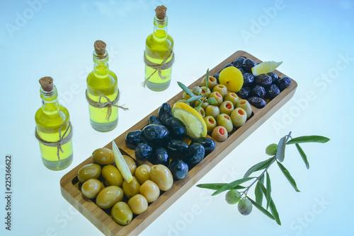 Fotobehang Aromatische natural olive and olive oil presentation
