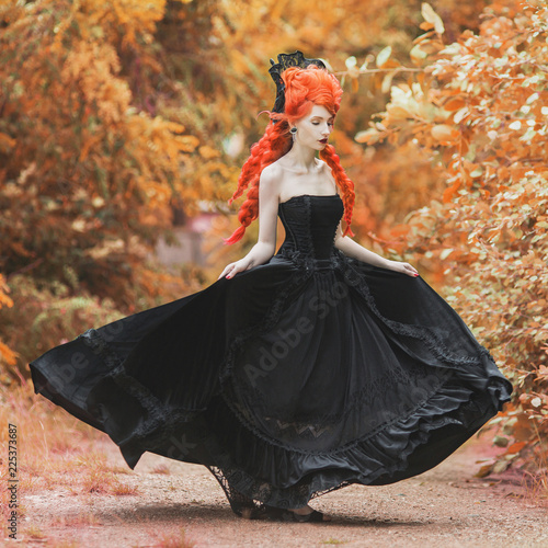 Gothic Halloween Gown Young Medieval Fantastic Queen With Hairstyle