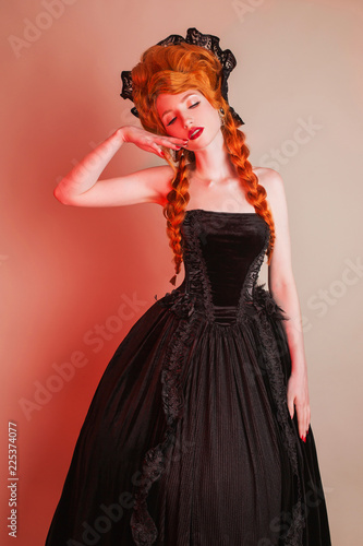 Gothic Halloween Clothes Young Fantastic Redhead Queen With
