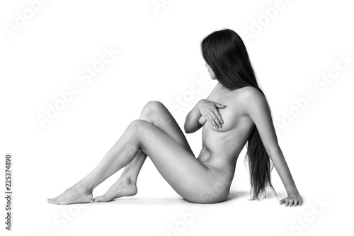 Poster Akt Art nude, perfect naked body, sexy woman isolated on white background, black and white studio shot