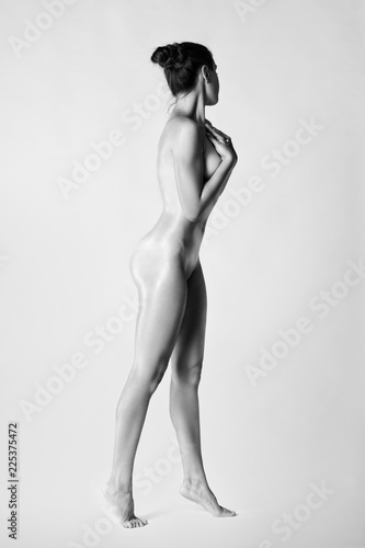 Deurstickers Akt Art nude, perfect naked body, sexy woman on gray background