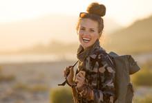 Tourist Woman Against Mountain...