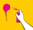 Man hand using pink spray painting