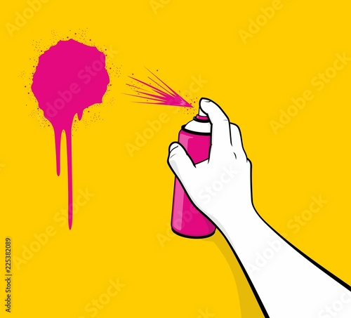 Man hand using pink spray painting Wallpaper Mural