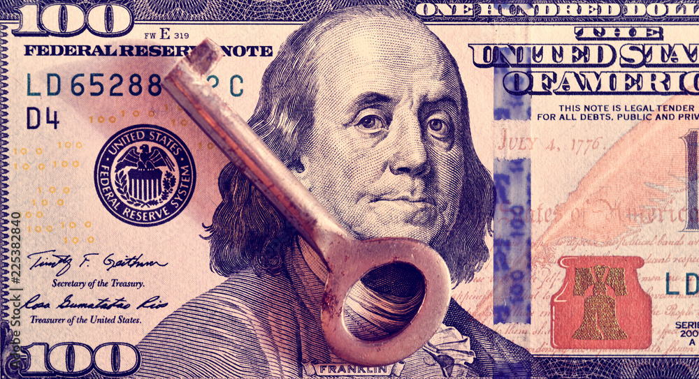 Fototapety, obrazy: abstract image of a key on a dollar bill as a symbol of financial sanctions (corruption, lobbying, financial secrecy - concept).