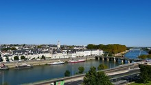 Cityscape Of The City Of Angers, Located In Western France, In The Loire Valley And The Maine-et-Loire Department. This City Is Known As A Green City. The Maine River Is Flowing Through The City.