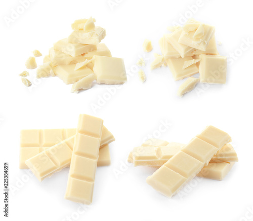 Set with delicious chocolate on white background