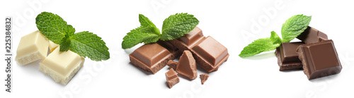 Set with different kinds of delicious chocolate and mint on white background