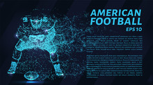 American Football Particles On A Dark Background. Football Consists Of Geometric Shapes. Vector Illustration