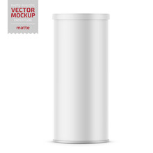 White Matte Paper Tube With Plastic Lid.