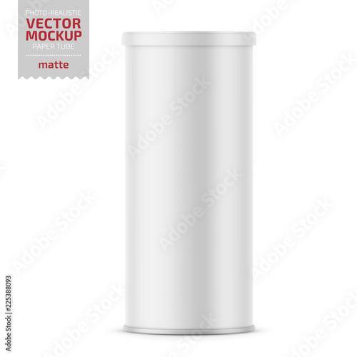 Fotografía White matte paper tube with plastic lid.