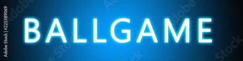 Photo Ballgame - glowing white text on blue background