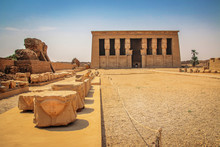 The Ruins Of The Beautiful Ancient Temple Of Dendera Or Hathor Temple. Egypt, Dendera, An Ancient Egyptian Temple Near The City Of Ken
