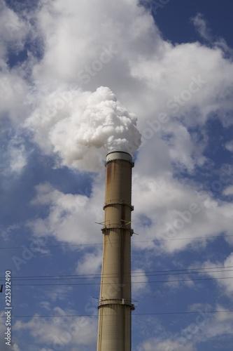 Fotobehang Rook smokestack white smoke from energy plant