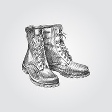 Hand Drawn Boots Sketch Symbol Isolated On White Background. Vector Camping Elements Art Highly Detailed In Sketch Style. Sketched Boots Vector Illustration.