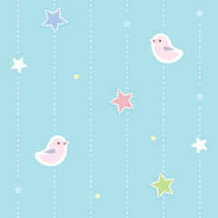 Cute seamless background with colorful dotted stars and pink birds. Children'...