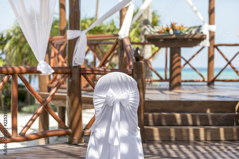 Mexican Wedding Pergola Before The Ceremony Decorated With Cloth And