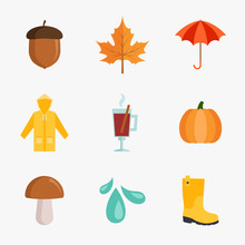 Set Of Autumn Icons In Flat Style Isolated On White Background. Collection Of Acorn,  Maple Leaf, Umbrella, Raincoat, Mulled Wine, Pumpkin, Mushroom, Rain Drops And Rainboots Vector Illustration.