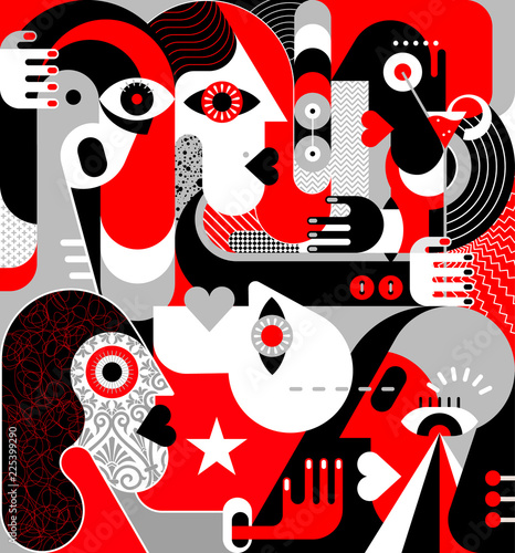 Foto op Plexiglas Abstractie Art Group of People vector illustration