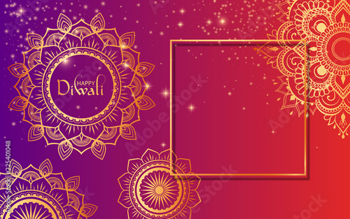 Obraz na plátně Happy Diwali Hindu gradient card with golden traditional ornament