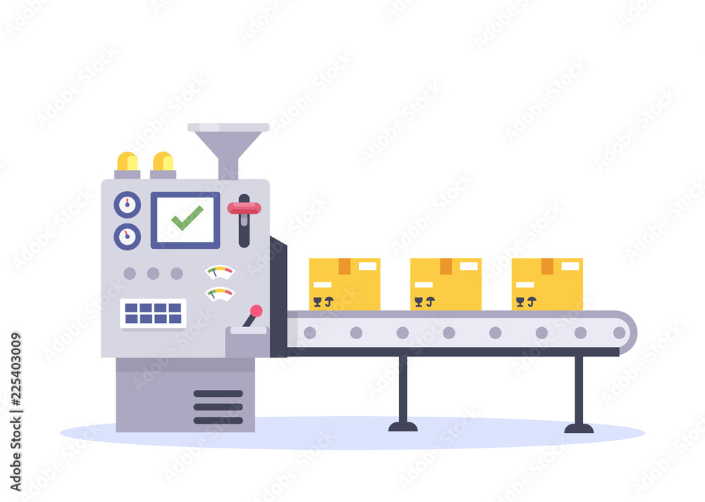Fototapeta Technology and packing concept in flat style. Industrial machine vector illustration.