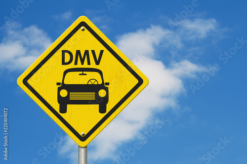 Fotografering  Visit to the DMV Highway Warning Sign