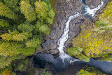 Aerial View Of Elk Falls On Vancouver Island, Canada
