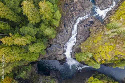 Canvas Prints Forest river Aerial view of Elk Falls on Vancouver Island, Canada