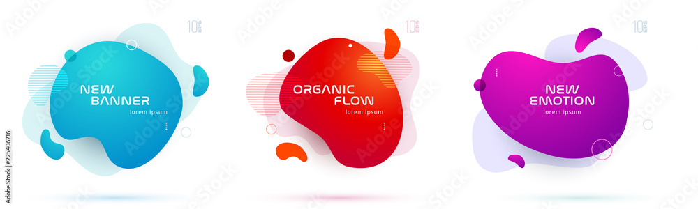 Fototapeta Set of liquid color abstract geometric shapes. Fluid gradient elements for minimal banner, logo, social post. Futuristic trendy dynamic elements. Abstract background. Eps10 vector.