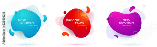 Fototapeta Set of liquid color abstract geometric shapes. Fluid gradient elements for minimal banner, logo, social post. Futuristic trendy dynamic elements. Abstract background. Eps10 vector. obraz