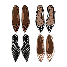 Fashion Set Of Hand Drawn Graphic Women Footwear, Shoes. Casual Fashion Style, Moccasins, Ballet Shoes With Animal Prints, Leopard, Deer, Spotted, Polka Dots. Doodle Design Object. Vector Illustration