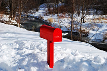 A Red Mailbox In The Snow, St....