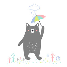 Cute Bear With Umbrella