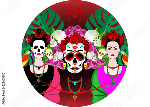 Canvas Print Mexican skull, mexican woman with a traditional hairstyle