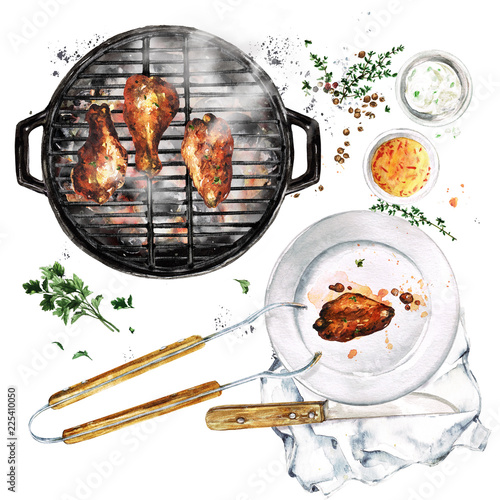Montage in der Fensternische Aquarell Abbildungen Grilled Chicken Wings. Watercolor Illustration.
