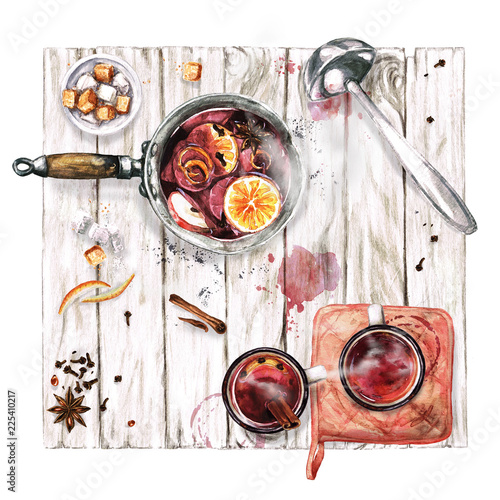 Mulled Wine Cooking . Watercolor Illustration.