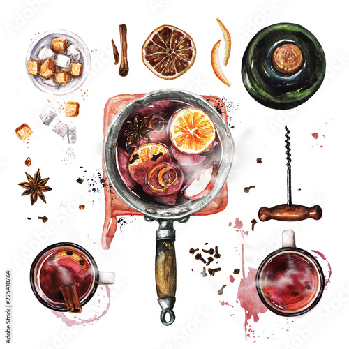 Canvas Prints Watercolor Illustrations Mulled Wine Cooking . Watercolor Illustration.
