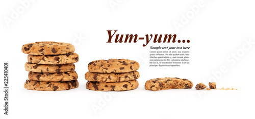 Multiple stacks of cookies underneath sample text