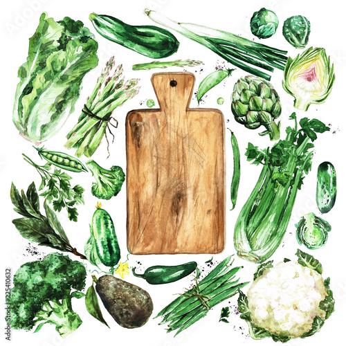Papiers peints Illustration Aquarelle Fresh green Vegetables. Watercolor Illustration.