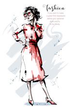 Hand Drawn Beautiful Young Woman In Red Dress. Stylish Elegant Girl. Fashion Woman Full Body Portrait. Sketch.