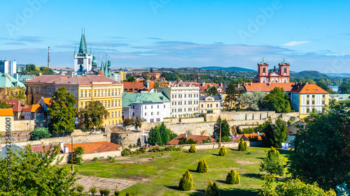 Foto op Plexiglas Historisch geb. Aerial view of Litomerice from cathedral bell tower on sunny summer day, Czech Republic.