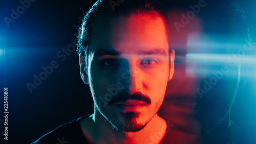 Cinematic portrait of man with lights and prism Canvas Print
